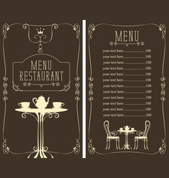 Menu with price image of served table and chairs vector