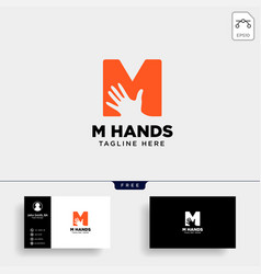 Minimal m letter initial hand logo template icon vector
