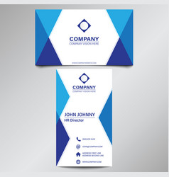 modern professional blue geometric business card vector image