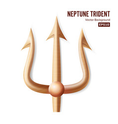 Neptune trident bronze realistic 3d vector