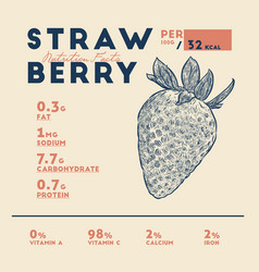 nutrition facts strawberries vector image