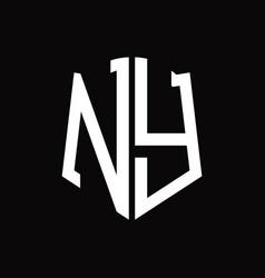 Ny logo monogram with shield shape ribbon design vector