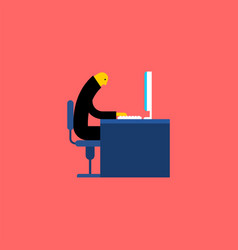 office life manager at computer vector image