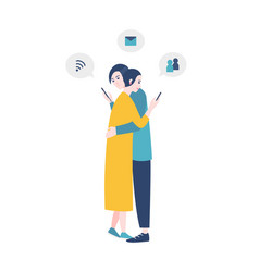 pair of man and woman standing hugging and vector image vector image