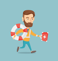 paramedic running with first aid box vector image