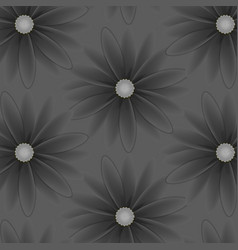 Pattern with flowers with gray petals vector