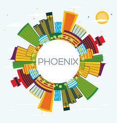 Phoenix skyline with color buildings blue sky and vector