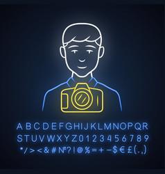 Photojournalist neon light icon photographer vector