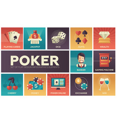 Poker - modern flat design icons set vector
