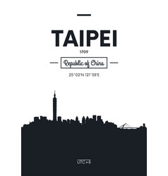 Poster city skyline taipei flat style vector