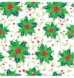 red green holly berry bunches and vector image