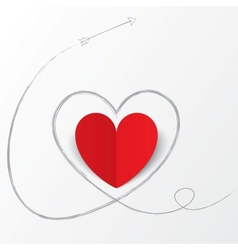 Red paper heart with arrow path Valentines day vector