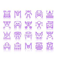 Robot simple color line icons set vector