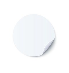 Round blank white sticker vector