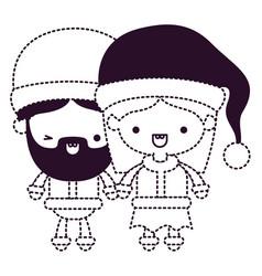 Santa claus couple cartoon full body man wink eye vector