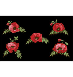 set of hand drawn red poppies isolated on black vector image