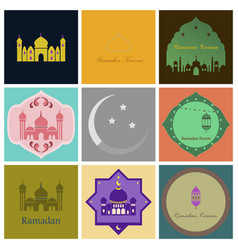 set of icons in flat style ramadan vector image