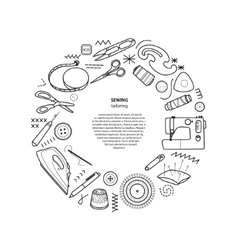 Sewing kit round frame vector