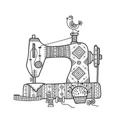 sewing machine in boho style with vector image