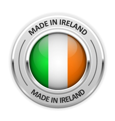 Silver medal Made in Ireland with flag vector image