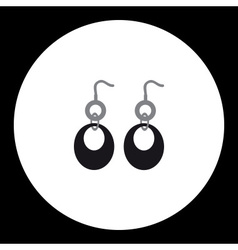 Simple ladies earring isolated black icon eps10 vector