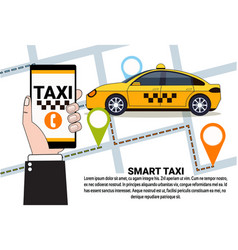 Smart taxi service of online cab order with smart vector