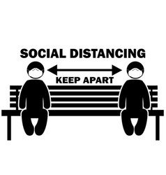 Social distancing keep apart stick figure vector