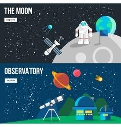 Space universe banner set vector