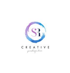 Sr letter logo circular purple splash brush vector