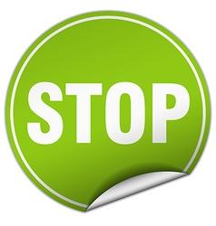 stop round green sticker isolated on white vector image