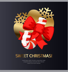 sweet christmas card with candy on gold vector image