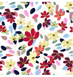 Sweet colorful flower and leave in seamless vector