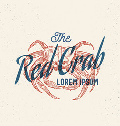 The red crab seafood retro print effect card vector