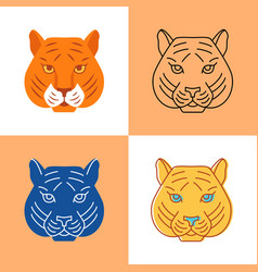 tiger head icon set in flat and line styles vector image