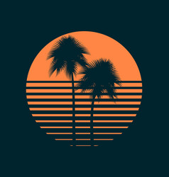 tropical palm trees in sun summer sunset vector image