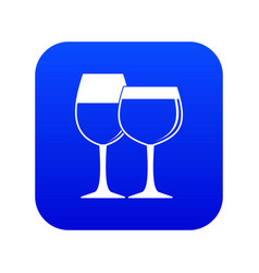 two glasses of wine icon digital blue vector image