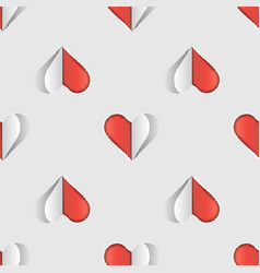 valentine s day seamless pattern with cut paper vector image