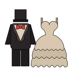 Wedding dress and groom suit vector