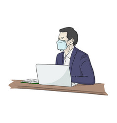 Well dressed young businessman with surgical vector