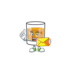 Whiskey in glass with bring envelope mascot vector