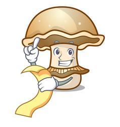 With menu portobello mushroom mascot cartoon vector
