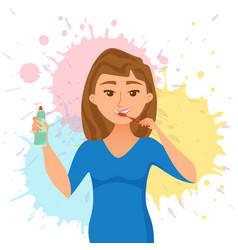 Young woman brush teeth cartoon style vector