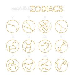 zodiac constellations - set twelve astrological vector image