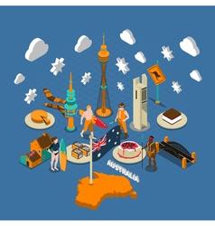 Australian Touristic Attractions Symbols Isometric vector image vector image