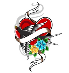 bird and heart tattoo vector image vector image