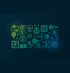 colorful cryptocurrency horizontal banner vector image vector image