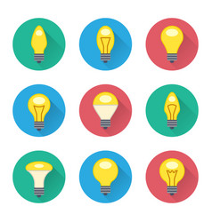 colorful light bulbs flat icons set vector image