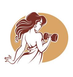 fitness goddes female gym logo template in vector image