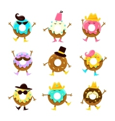 Humanized doughnut cartoon characters with arms vector
