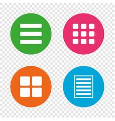 list menu icons content view options vector image